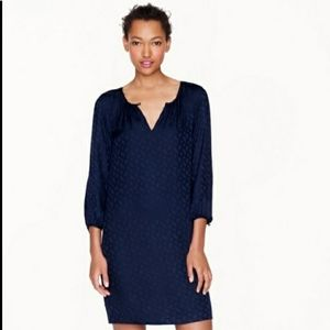 J. Crew 100% Silk Navy 3/4 Sleeve Dress